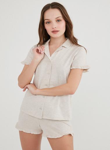 Penti Kadın Bej Melanj Frill Gömlek Şort Pijama Takım PNDWPM5V21IY Ten